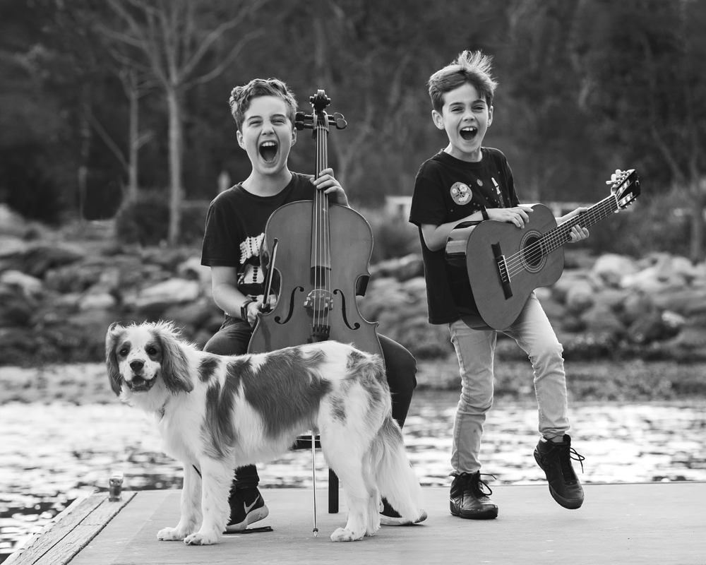 Childrens photography with musical instruments